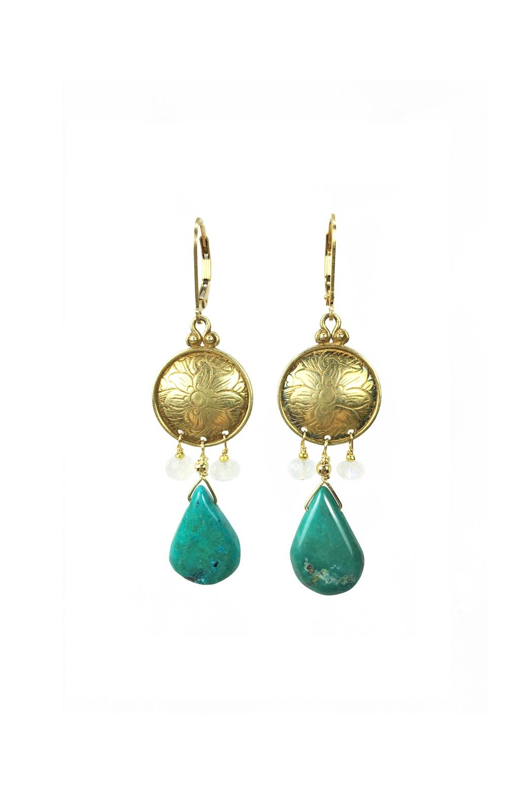 Melinda Lawton Jewelry Turquoise Moonstone Earrings - Main Image