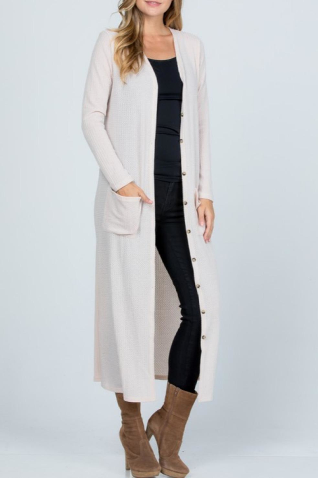Melody Textured Maxi Cardigan - Side Cropped Image