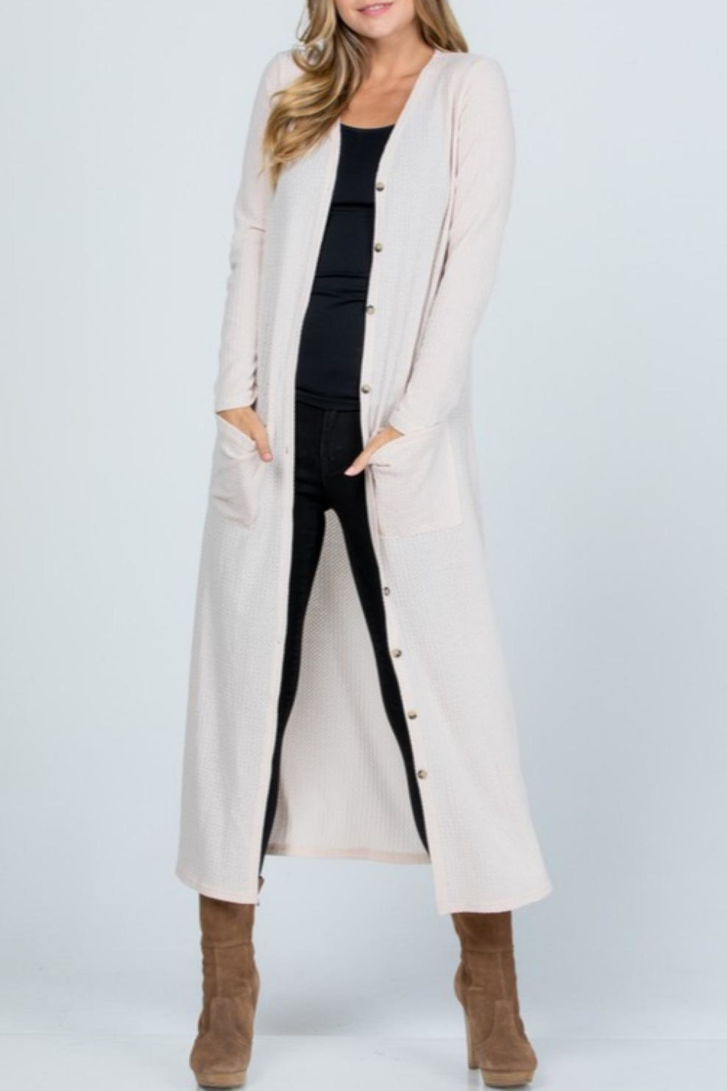 Melody Textured Maxi Cardigan - Front Full Image