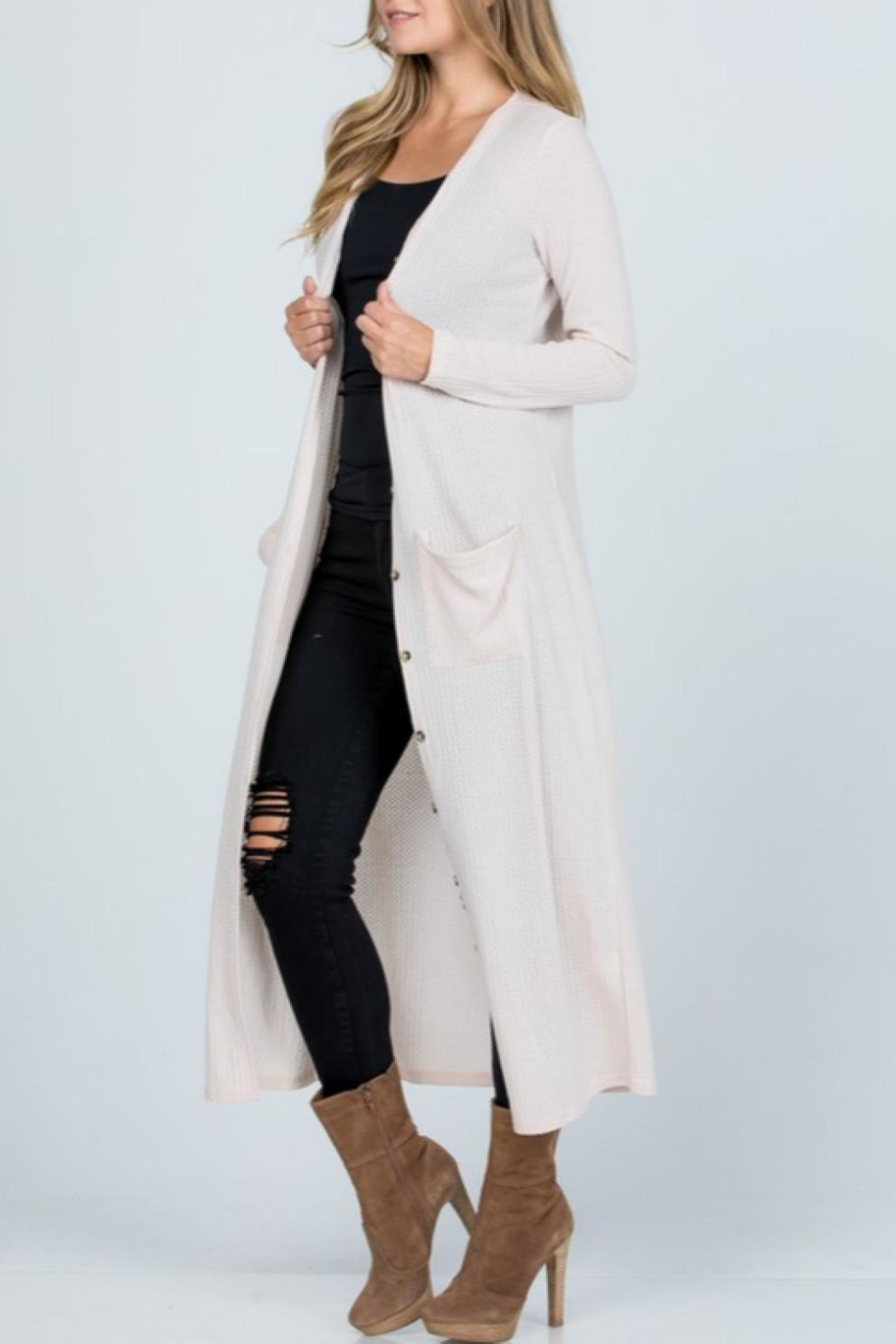 Melody Textured Maxi Cardigan - Back Cropped Image