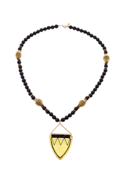 Shoptiques Product: Black Threaded Shield Necklace