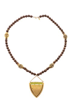 Shoptiques Product: Green Threaded Shield Necklace