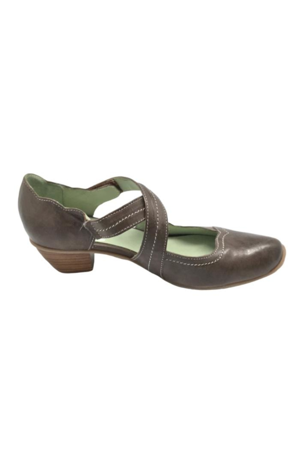 Mentha Taupe Leather Pump - Side Cropped Image