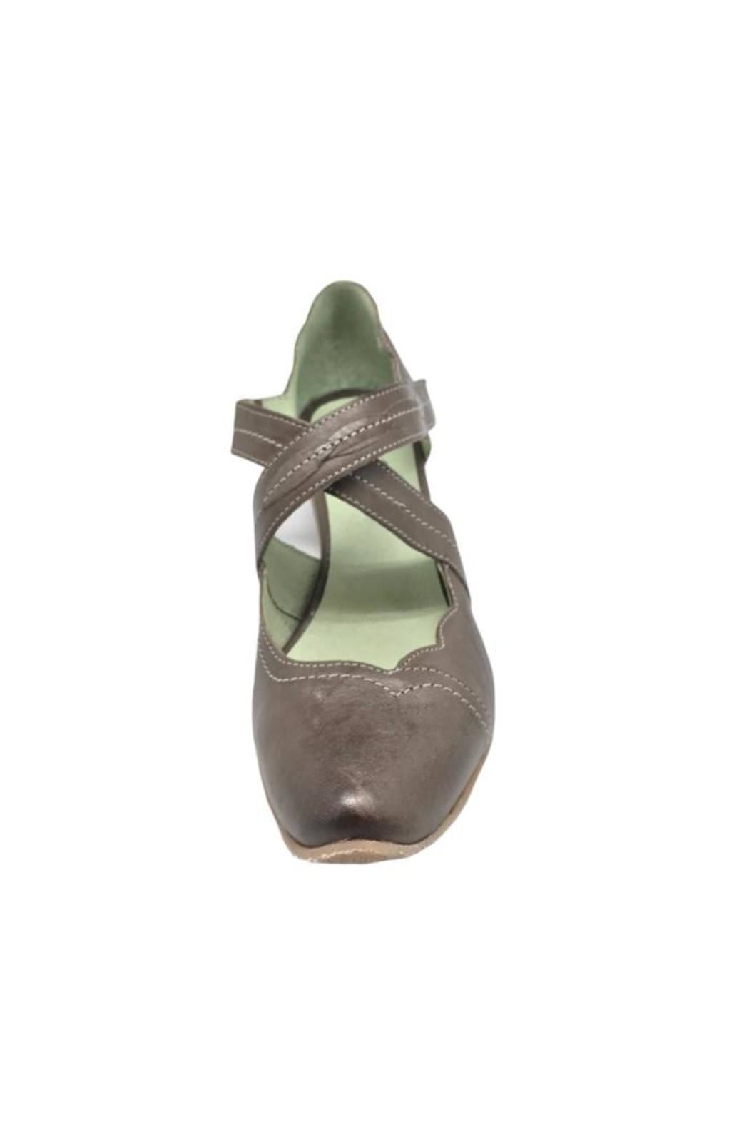 Mentha Taupe Leather Pump - Back Cropped Image
