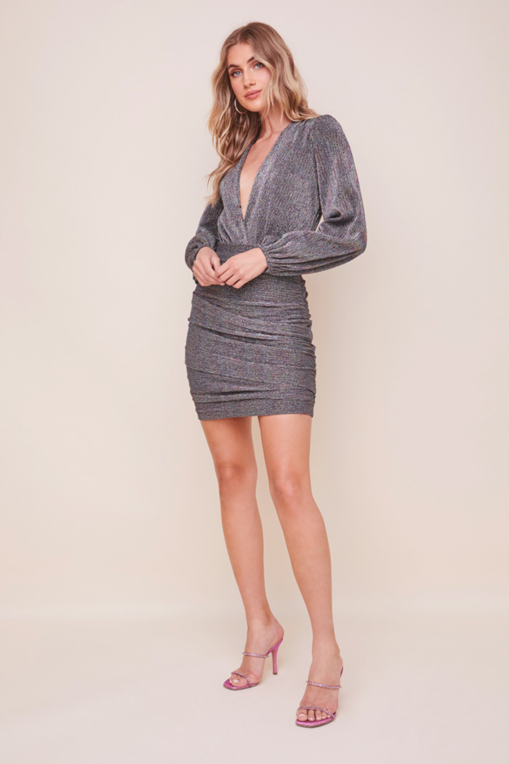 ASTR the Label Meredith Metallic Dress - Side Cropped Image