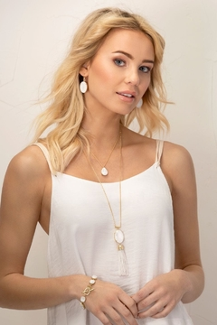 Spartina 449 Mermaid Glass Oval Tassel Necklace 28