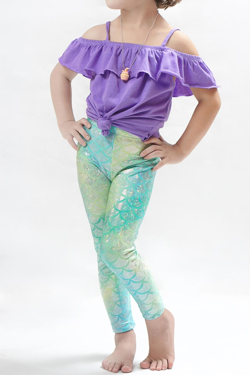 PPoT Kids Mermaid Leggings Green - Front Cropped Image