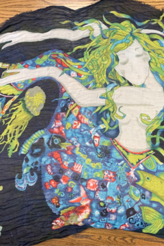 Blue Pacific Fashion Mermaid Print Silk and Cashmere Scarf - Product List Image
