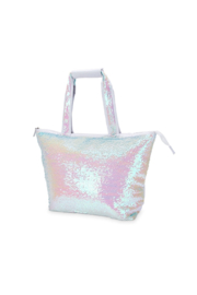 Blush Mermaid Sequin Cooler Tote - Front cropped