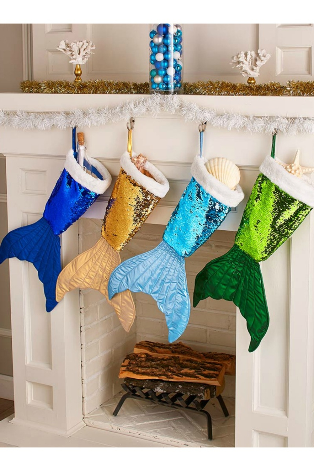 Soap and Water Newport Mermaid Tail Reversible Sequin Stockings - Front Full Image