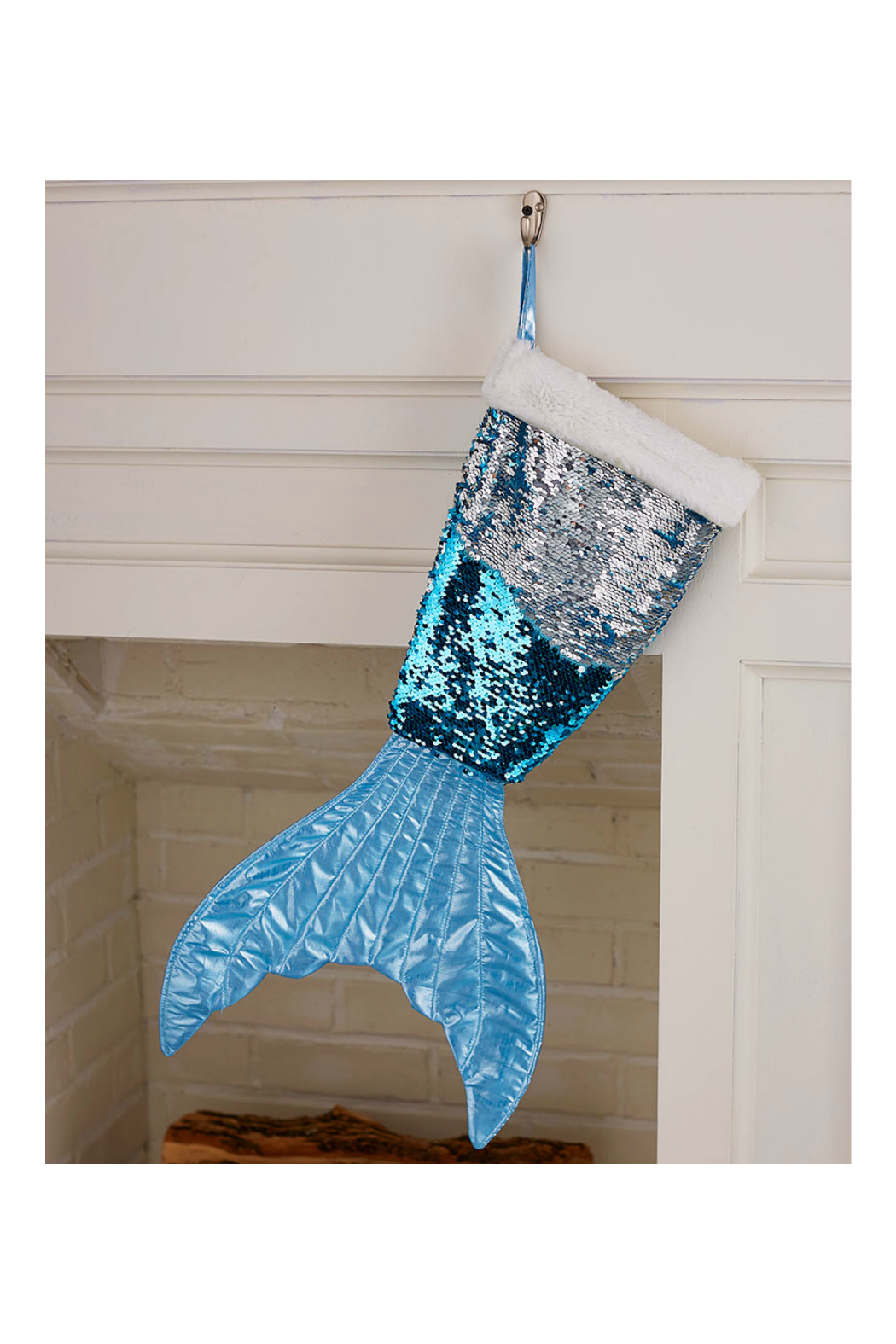 Soap and Water Newport Mermaid Tail Reversible Sequin Stockings - Side Cropped Image