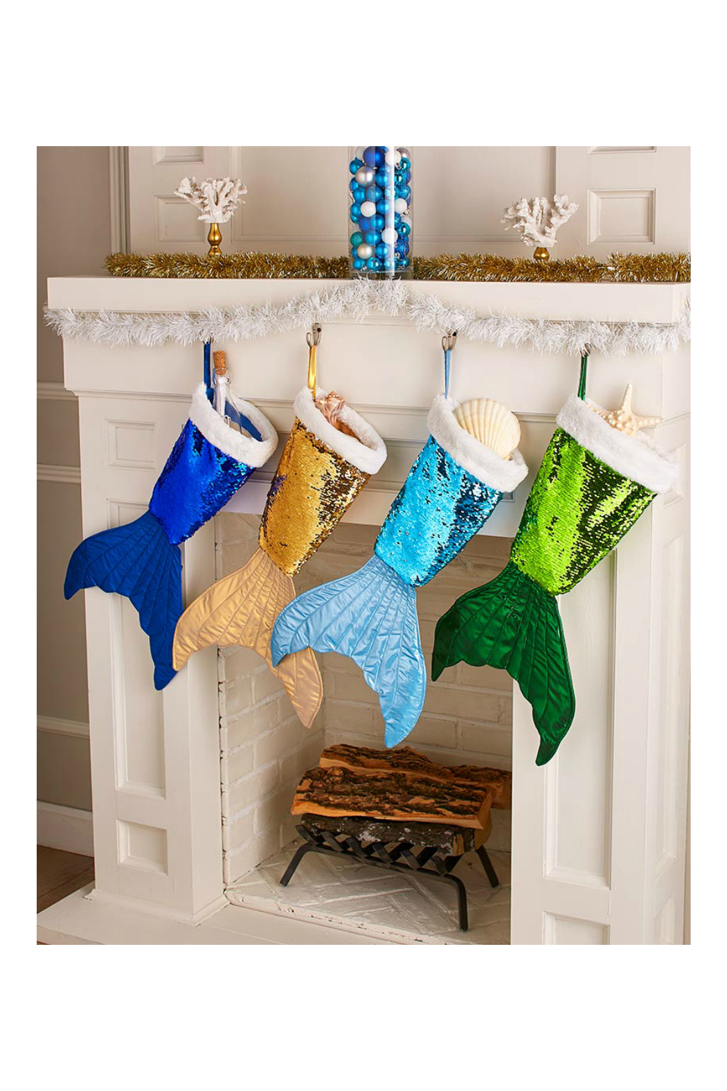 Soap and Water Newport Mermaid Tail Reversible Sequin Stockings - Front Cropped Image