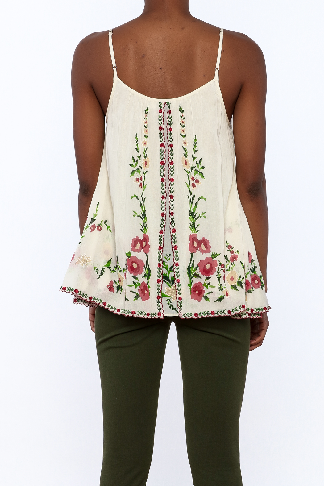 Mes Demoiselles Ivory Embroidered Blouse - Back Cropped Image