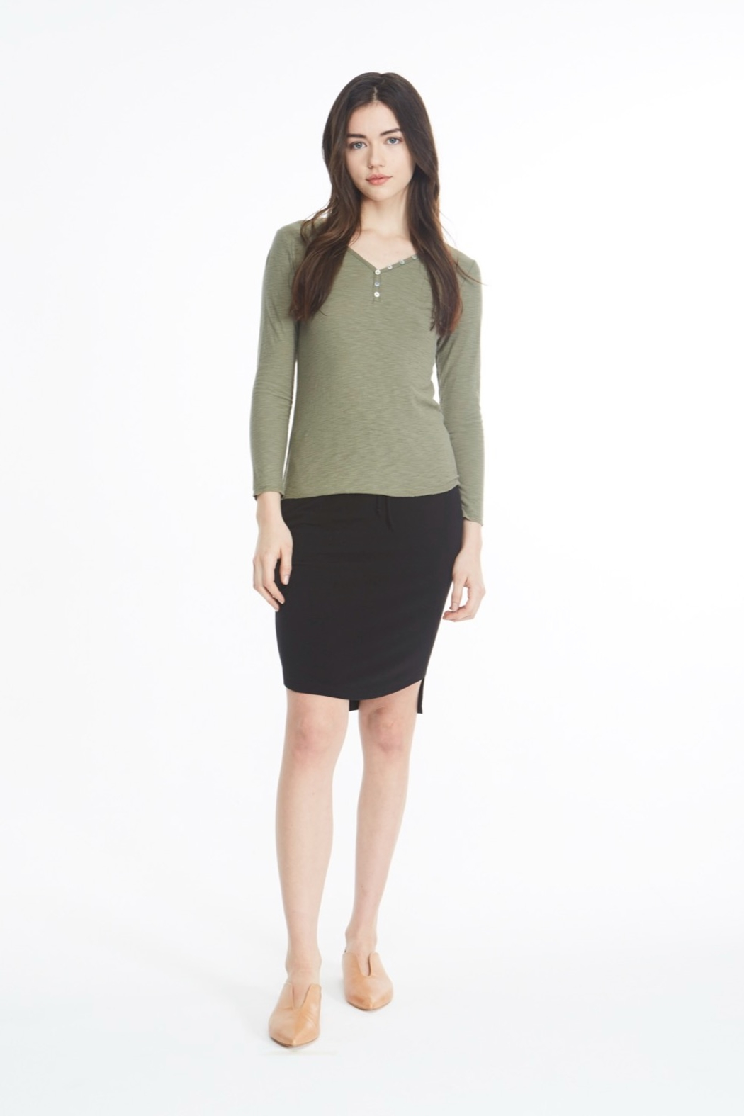 Michelle by Comune Mesa V Neck Long Sleeve Top - Front Cropped Image