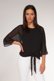 Black Tape Mesh 3/4 Slv Tie Front Blouse - Front cropped