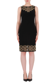 Joseph Ribkoff USA Inc. Mesh Beaded Neck & Hem Sheath Dress - Product Mini Image