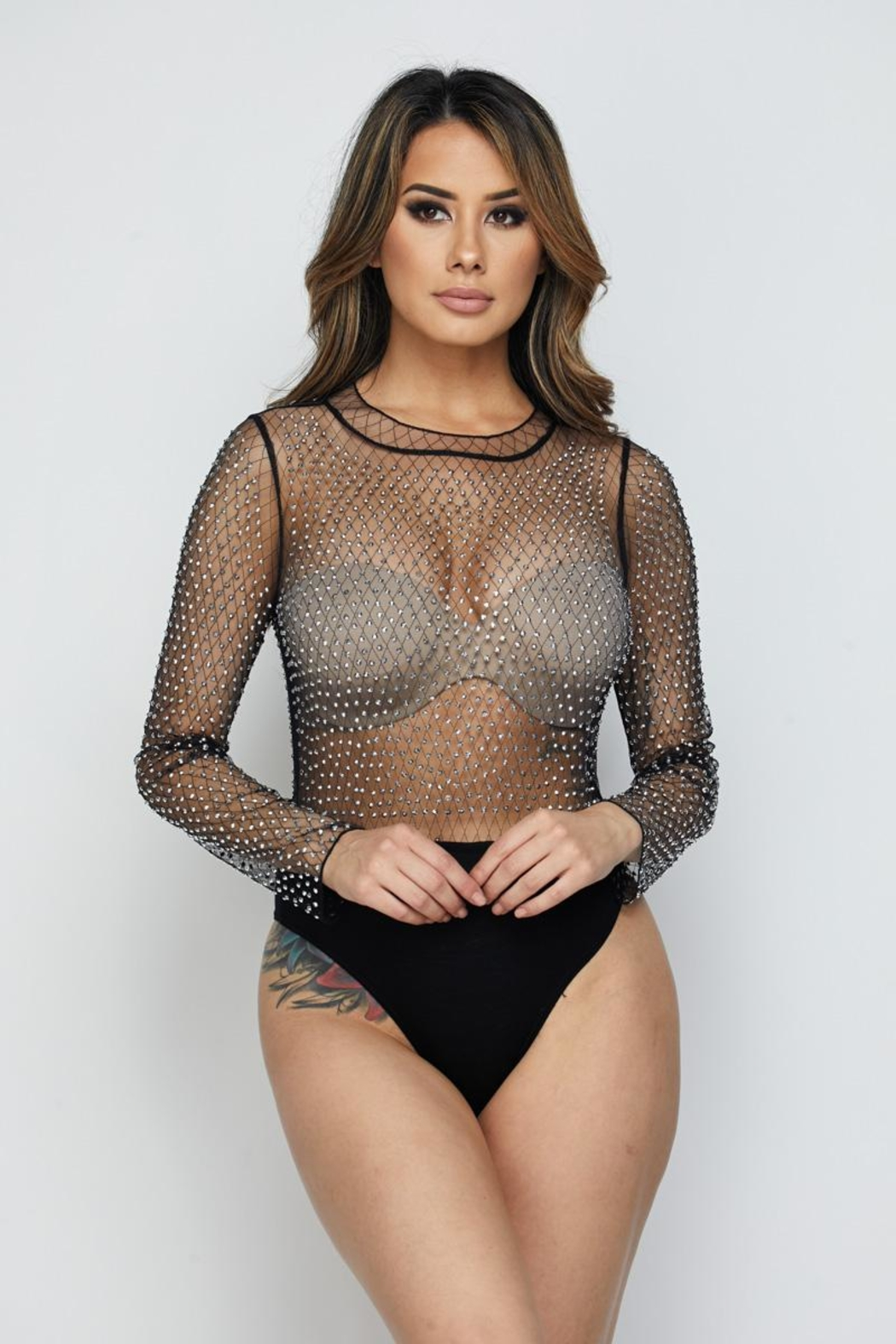 Hot & Delicious Mesh Bodysuit - Front Full Image