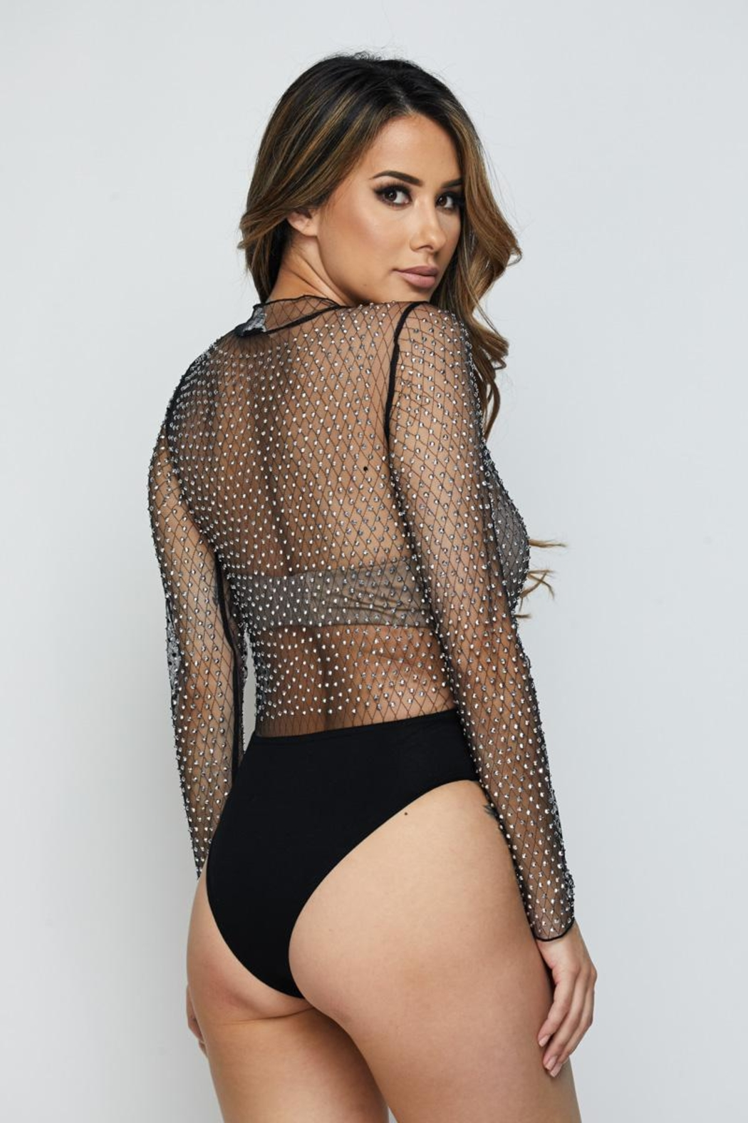Hot & Delicious Mesh Bodysuit - Back Cropped Image
