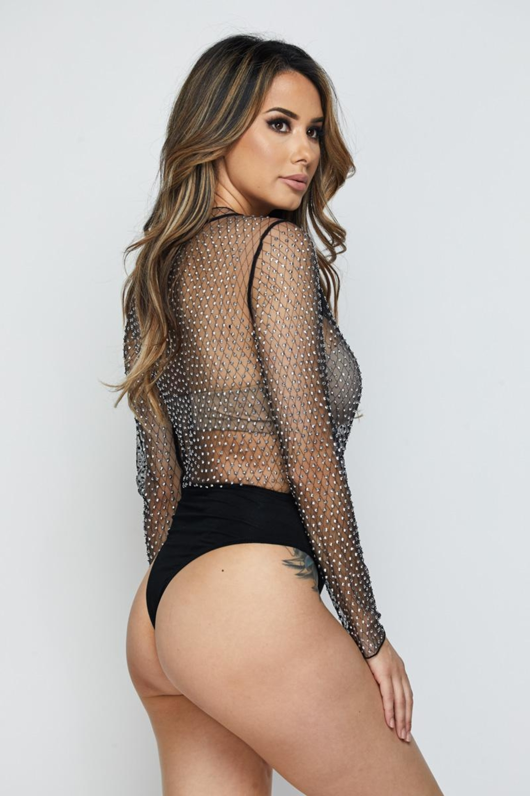 Hot & Delicious Mesh Bodysuit - Side Cropped Image