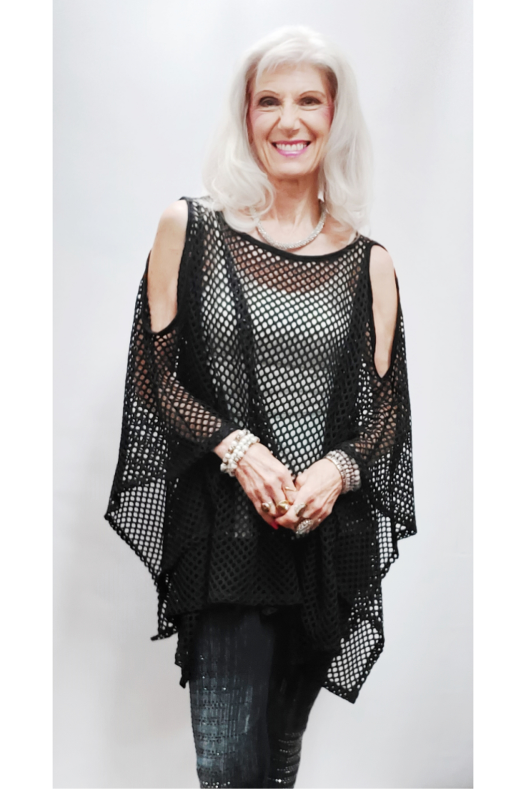 Magic Scarf Mesh Cold Shoulder Poncho - Front Full Image