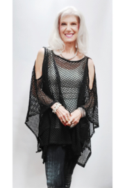 Magic Scarf Mesh Cold Shoulder Poncho - Front full body