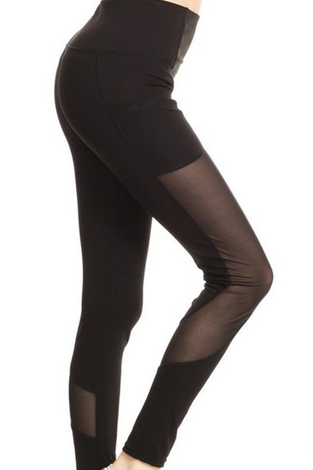 Yelete Mesh Detail Legging - Back Cropped Image