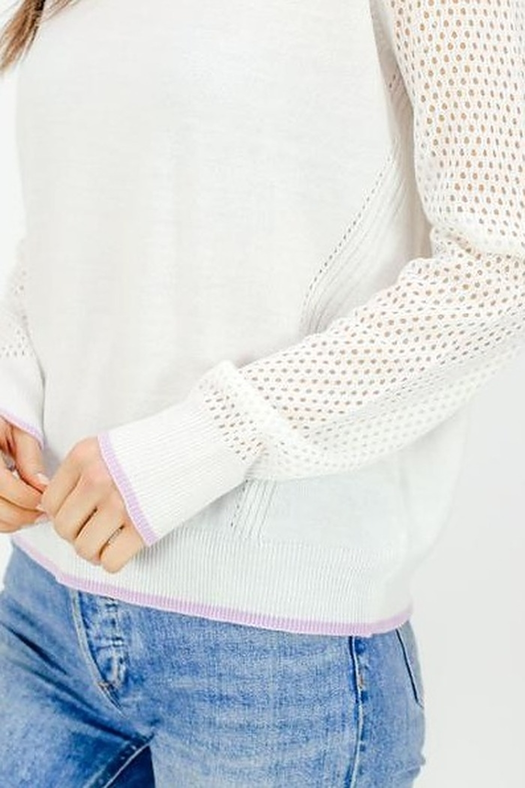 Six Fifty Mesh Detail Lightweight Sweater - Side Cropped Image