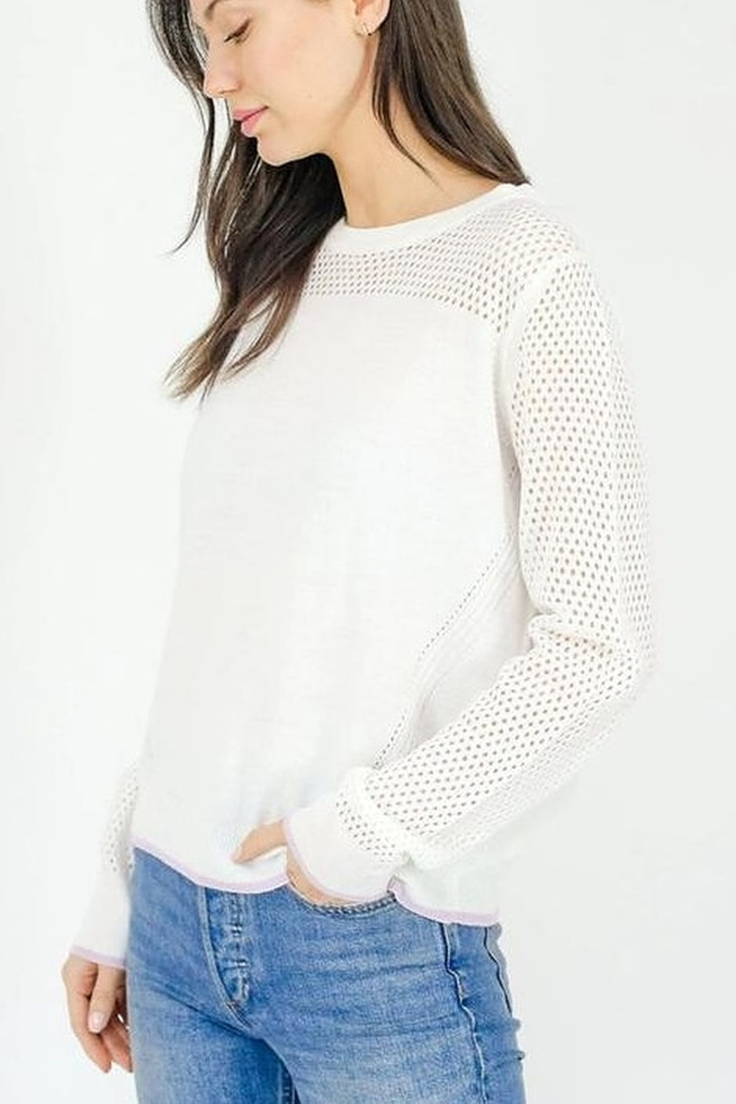 Six Fifty Mesh Detail Lightweight Sweater - Front Full Image