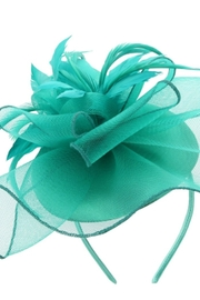 KIMBALS MESH FLORAL FEATHER CAP FASCINATOR - Jade - Product Mini Image