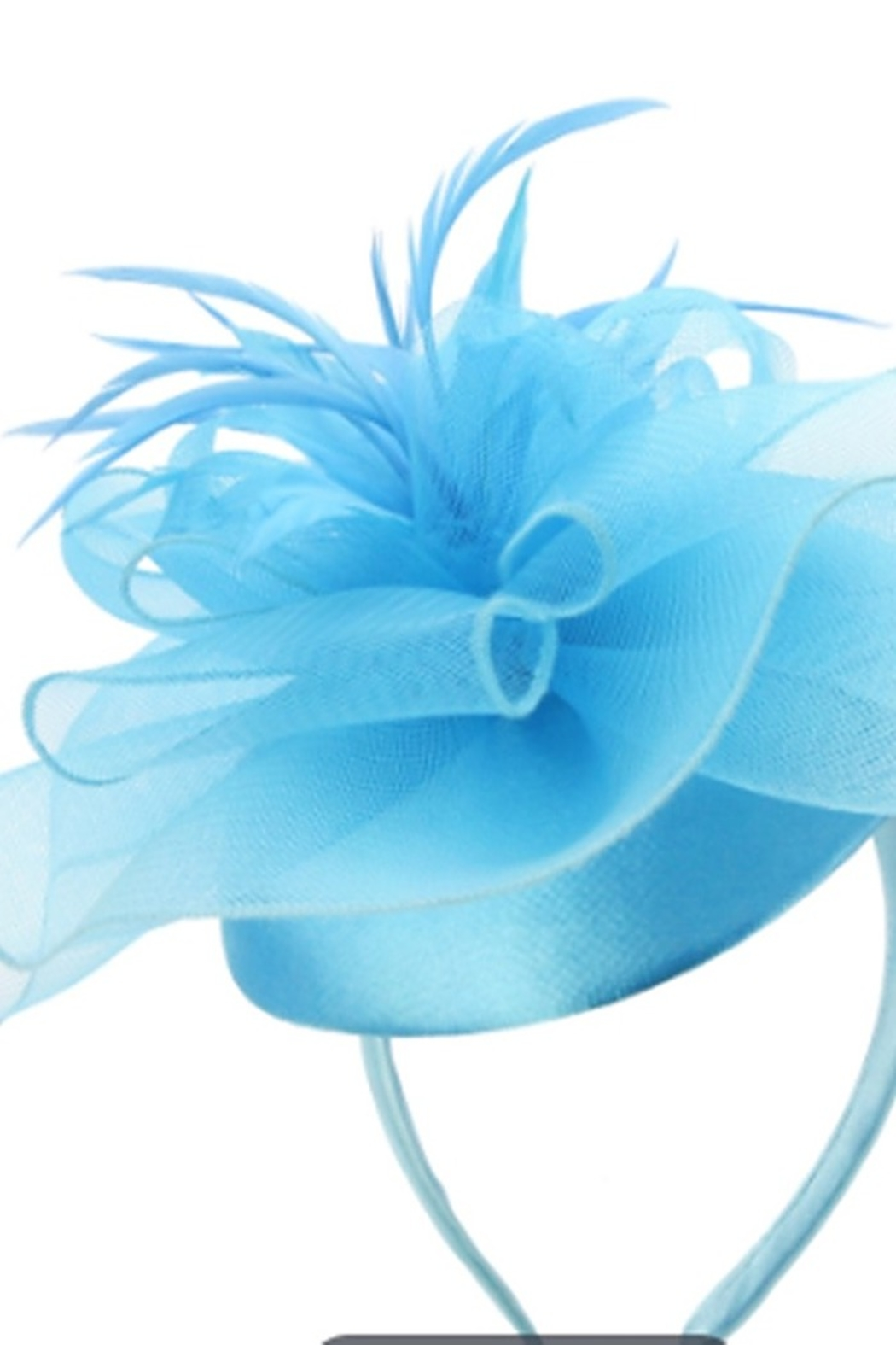 KIMBALS MESH FLORAL FEATHER CAP FASCINATOR - Turquoise - Main Image