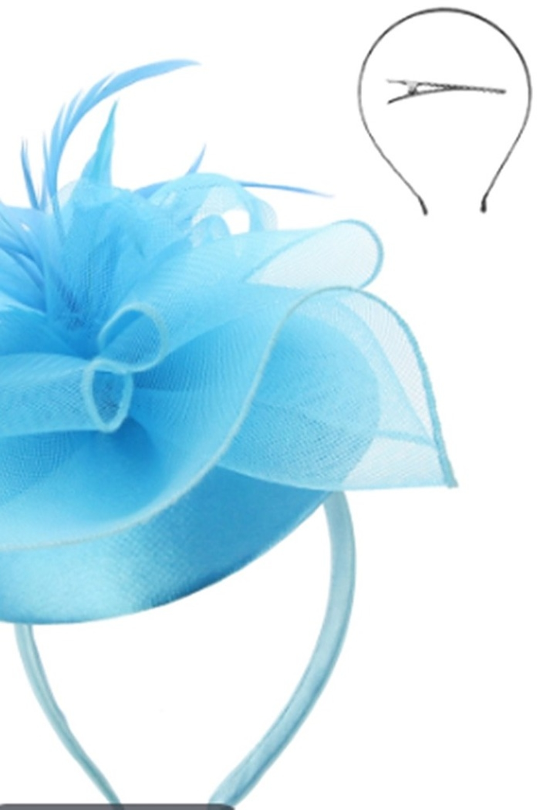KIMBALS MESH FLORAL FEATHER CAP FASCINATOR - Turquoise - Front Full Image