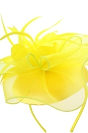 KIMBALS MESH FLORAL FEATHER CAP FASCINATOR - Yellow - Product Mini Image