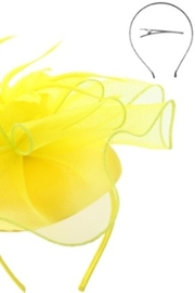 KIMBALS MESH FLORAL FEATHER CAP FASCINATOR - Yellow - Front full body