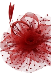 KIMBALS MESH FLORAL FEATHER FASCINATOR with DOTTED RUFFLE - Red - Product Mini Image