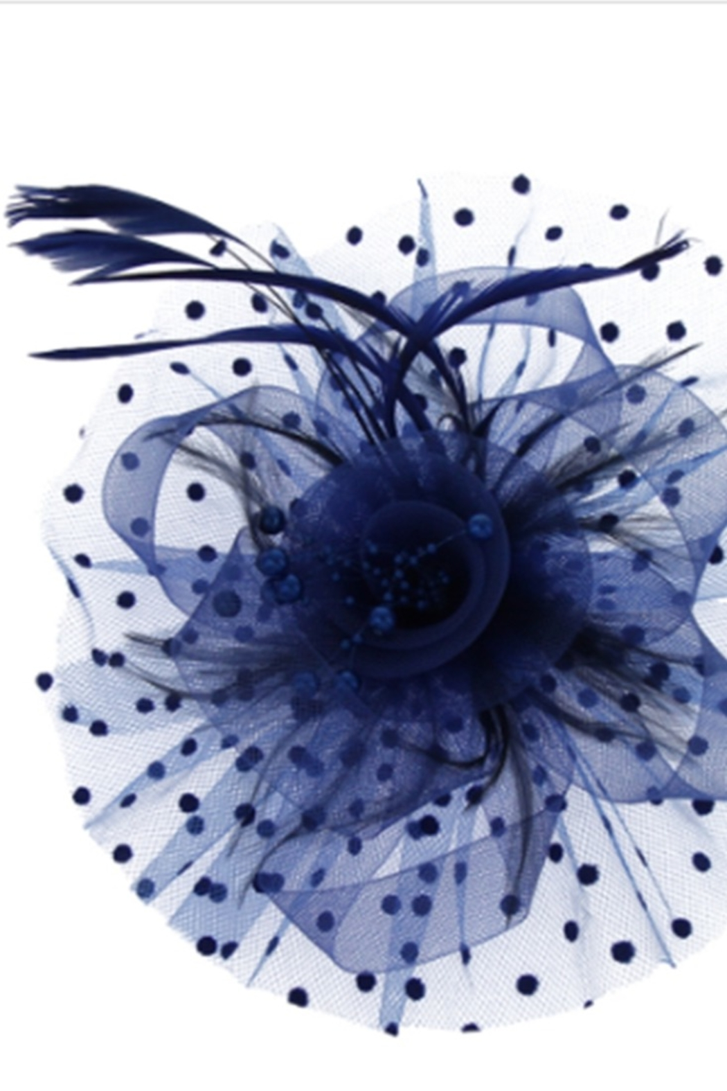 KIMBALS MESH FLORAL FEATHER FASCINATOR with DOTTED RUFFLE - Royal - Main Image