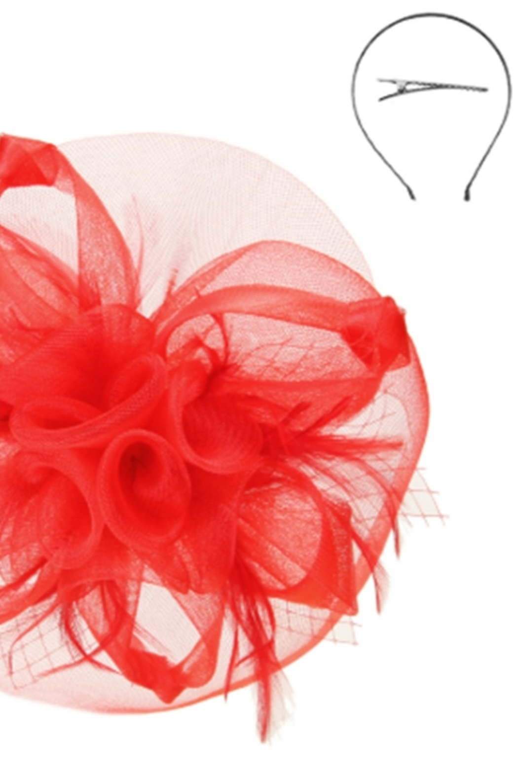KIMBALS MESH FLORAL VEIL FASCINATOR - Red - Front Full Image