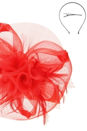 KIMBALS MESH FLORAL VEIL FASCINATOR - Red - Front full body