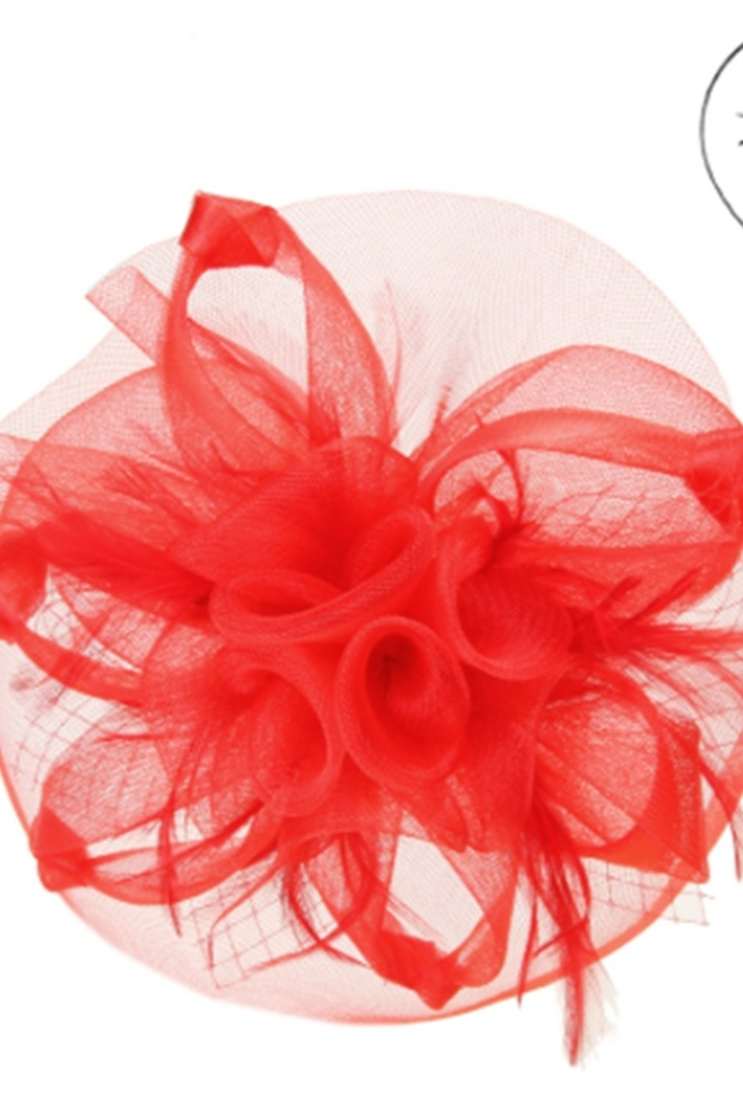 KIMBALS MESH FLORAL VEIL FASCINATOR - Red - Front Cropped Image
