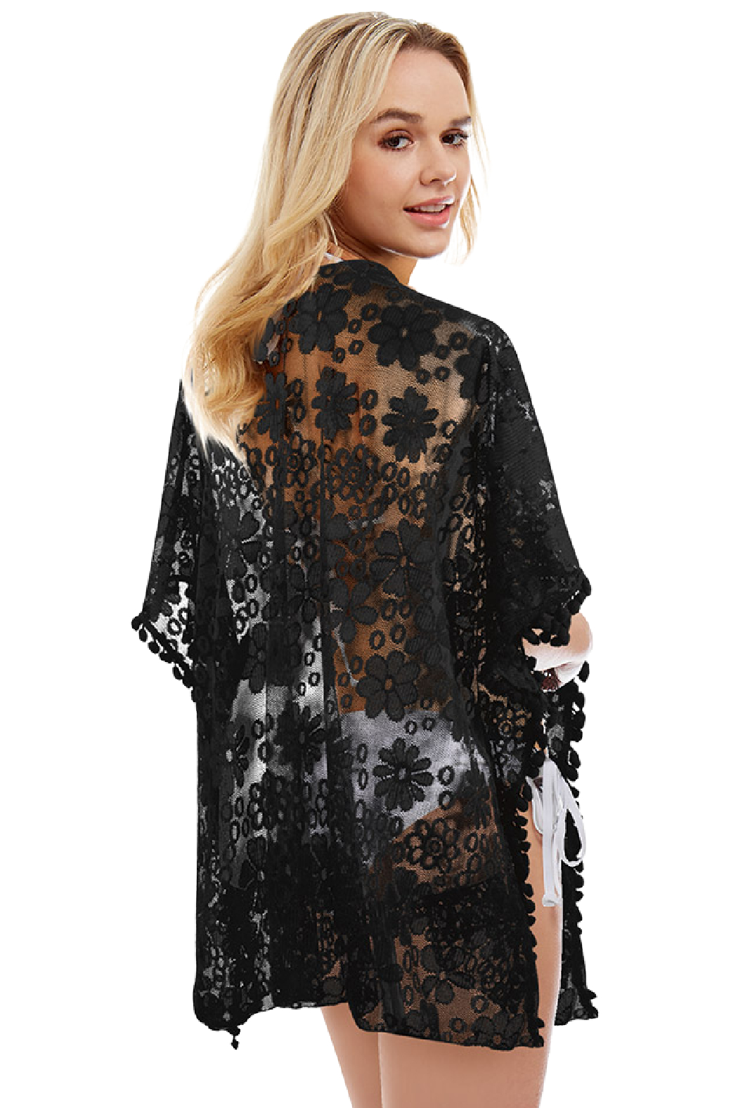 Love of Fashion Mesh Lace Kimono - Front Full Image