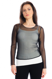 Michael Tyler Collections Mesh Long Sleeve Top - Product Mini Image