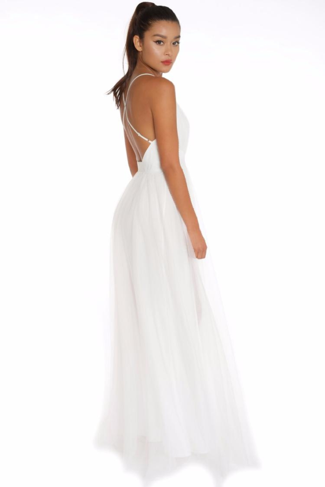 luxxel Mesh Maxi Gown - Front Full Image