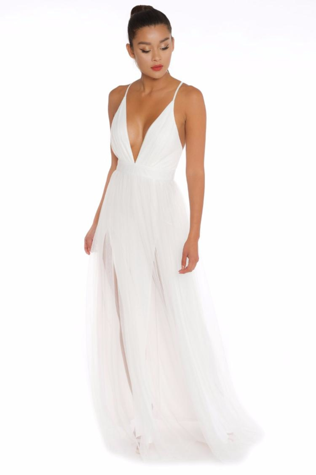 luxxel Mesh Maxi Gown - Main Image