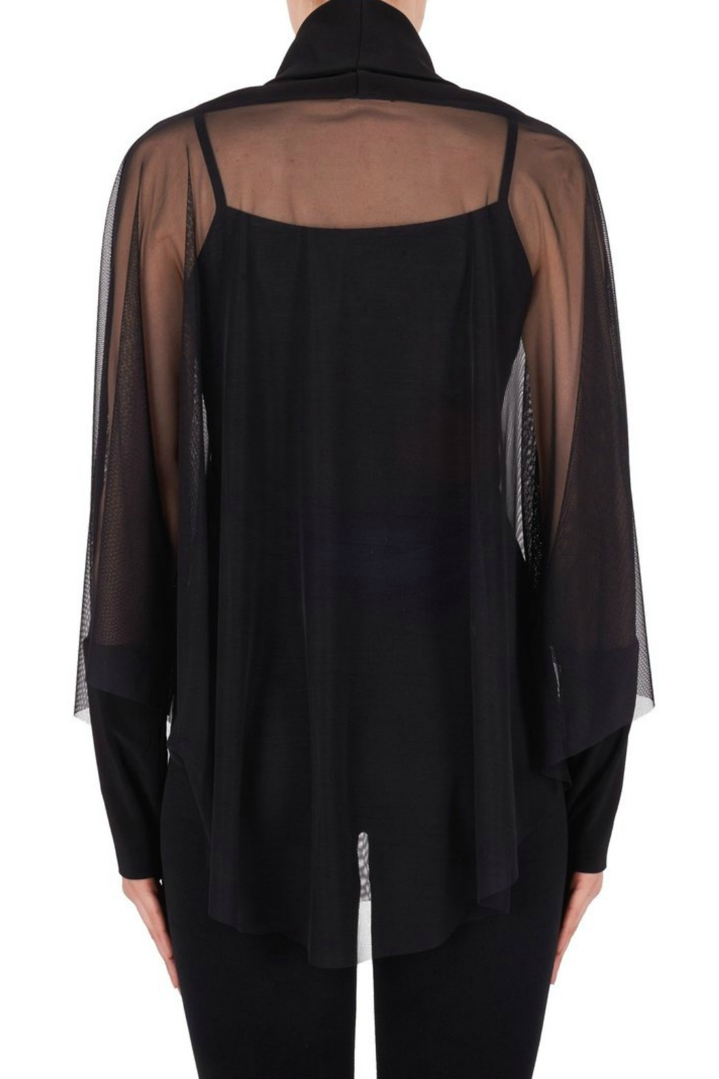 Joseph Ribkoff USA Inc. Black Mesh Overlay Top - Side Cropped Image