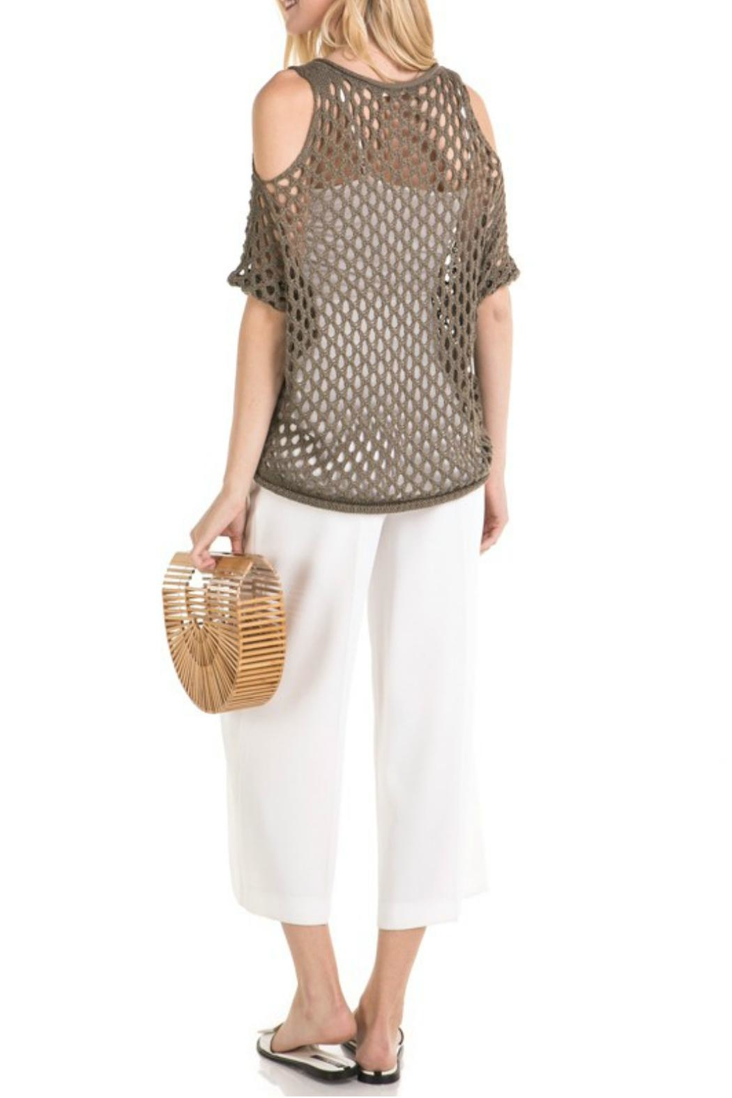 Mystree Mesh Pointelle Cold-Shoulder - Side Cropped Image