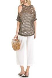 Mystree Mesh Pointelle Cold-Shoulder - Side cropped