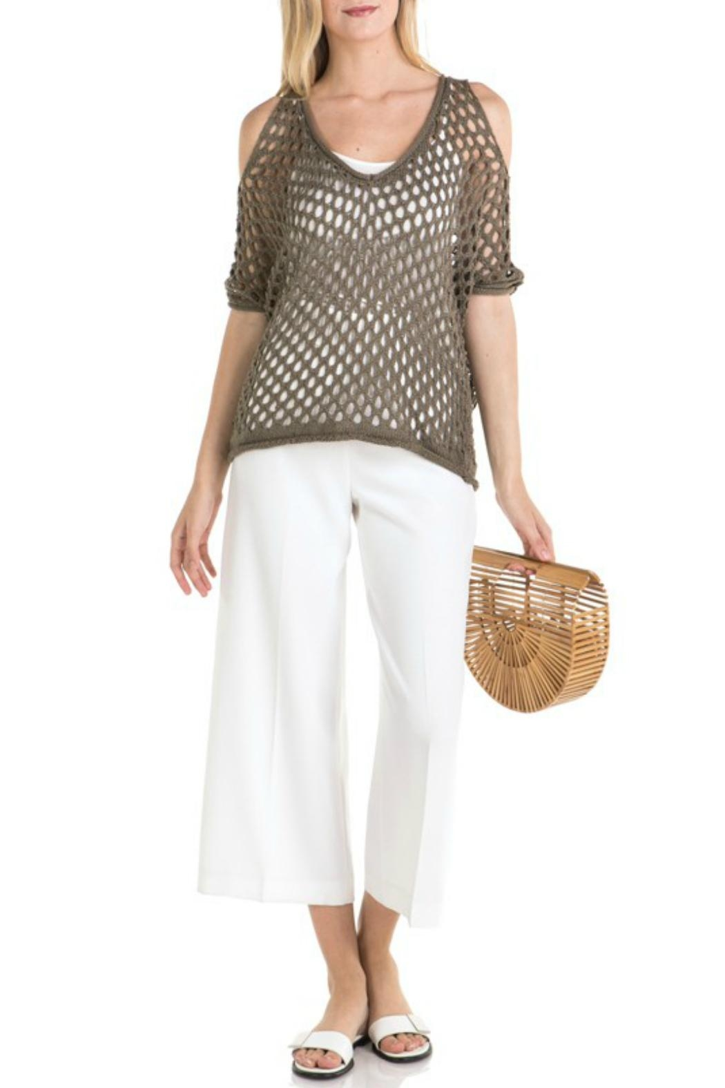 Mystree Mesh Pointelle Cold-Shoulder - Main Image