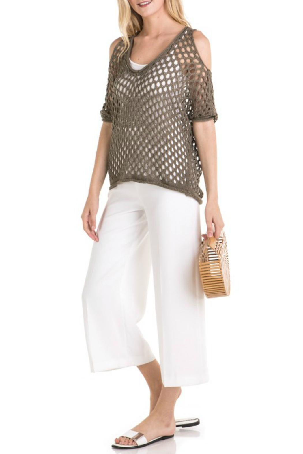 Mystree Mesh Pointelle Cold-Shoulder - Front Full Image