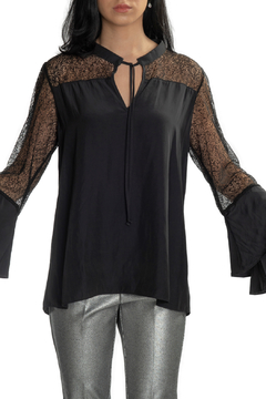 Lola & Sophie Mesh & Satin Tiered Sleeve Blouse - Product List Image