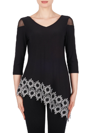 Joseph Ribkoff USA Inc. Mesh Sleeve Daisy Hem Tunic - Product Mini Image