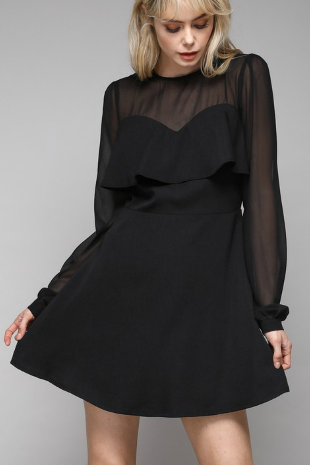 Do & Be Mesh Sleeve Dress - Front Cropped Image
